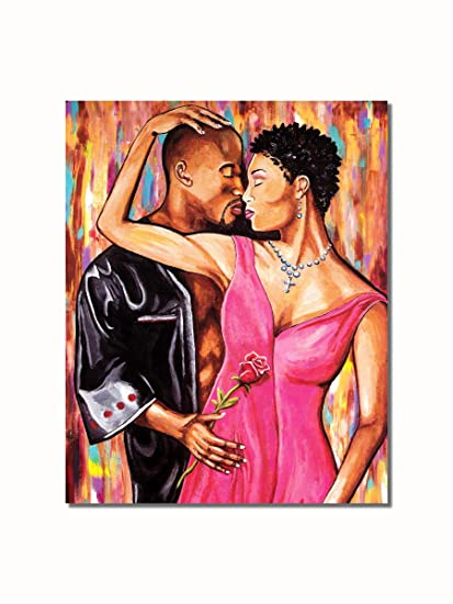 Amazon.com: African American Black Couple A Rose with Love Wall ...