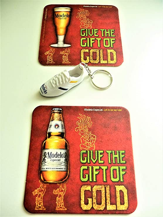 10 MODELO ESPECIAL Beer Gold colored Keychains