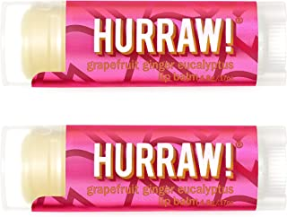 product image for Hurraw! Kapha (Grapefruit, Ginger, Eucalyptus) Lip Balm, 2 Pack: Organic, Certified Vegan, Cruelty and Gluten Free. Non-GMO, 100% Natural Ingredients. Bee, Shea, Soy and Palm Free. Made in USA