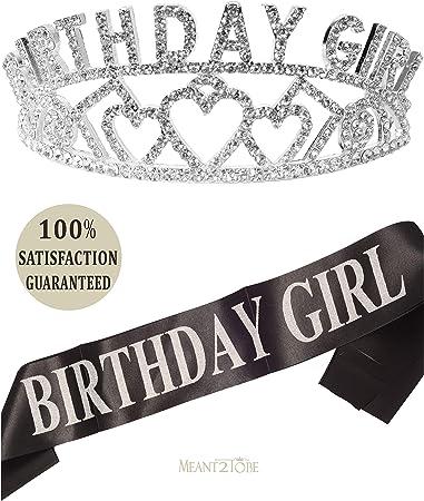 Amazon.com: Faja y tiara para niña de cumpleaños, faja y ...