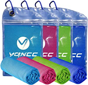"YQXCC Cooling Towel 4 Packs (47""x12"") Microfiber Towel Yoga Towel for Men or Women Ice Cold Towels for Yoga Gym Travel Camping Golf Football & Outdoor Sports (Light Blue/Dark Blue/Rose Red/Green)"