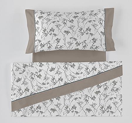 ES-Tela - Juego de sábanas Estampadas Paola Color Gris (3 Piezas) - Cama de 135/140 cm. - 50% Algodón/50% Poliéster - 144 Hilos: Amazon.es: Hogar