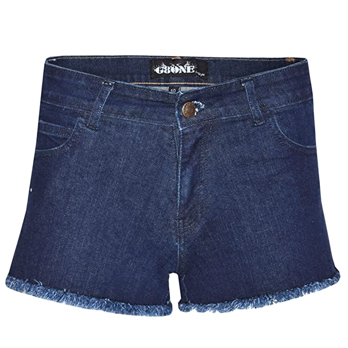 37581d0a67 G8ONE Bliss New Womens Ladies Casual Summer Stretch Denim Shorts Acid Blue  Dark Wash Jeans Hot Pants: Amazon.co.uk: Clothing