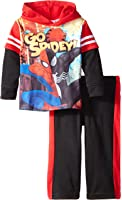 Marvel Baby Boys' Spiderman Baby Boys Hooded Mask Top with Fleece Pant