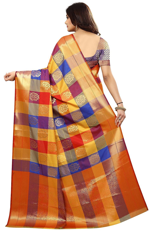 Multi color Silk Kanjivaram Style Saree with Blouse