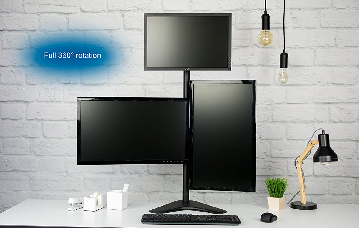 VIVO Triple LCD LED Computer Monitor Desk Stand Free Standing Heavy Duty Fully Adjustable, Mounts Three Screens up to 27""