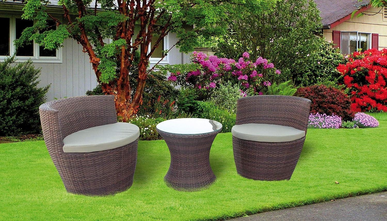 Salottino Mod. Anfora Set per giardino in polirattan colore Marroneee Anfora