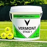 Vermont Mini Grün Tennisbälle - Stufe 1 - ITF genehmigt - 75% Kompression - 60-Ball-Eimer - Haltbarer Tennisball - Geeignet für alle Court-Oberflächen [Net World Sports]