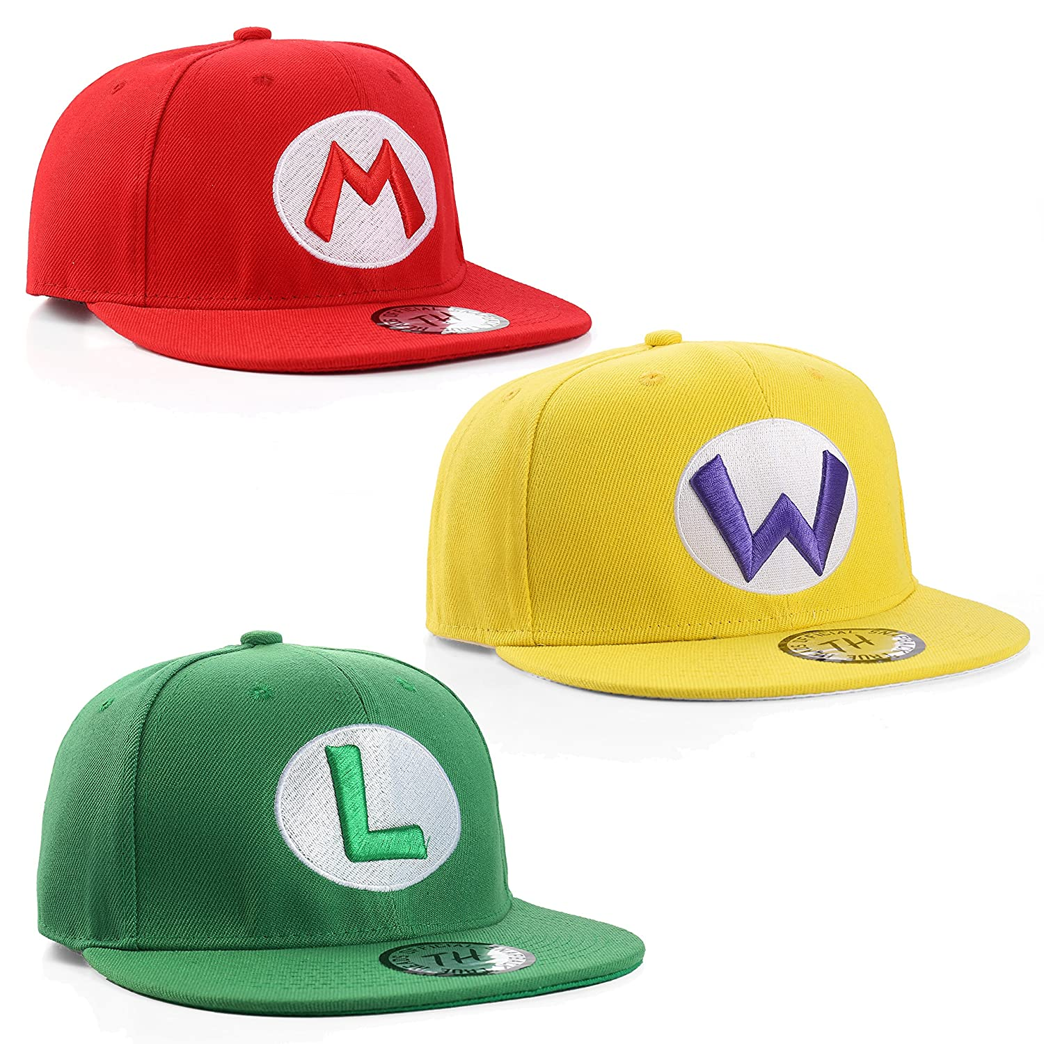 True Heads Super Mario, Luigi and Wario Snapback Baseball Caps Triple Pack TH-SM-TP-MLW