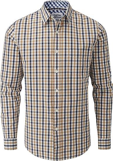 Charles Wilson Camisa Original Manga Larga Cuadros para Hombre (Medium, Brown & Navy): Amazon.es: Ropa y accesorios