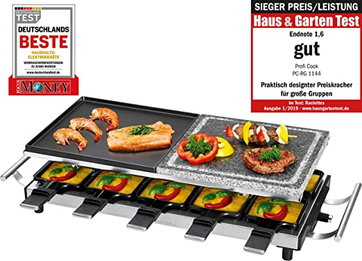 ProfiCook PC-RG 1144 Raclette/Parrilla de Mesa con Piedra Natural ...