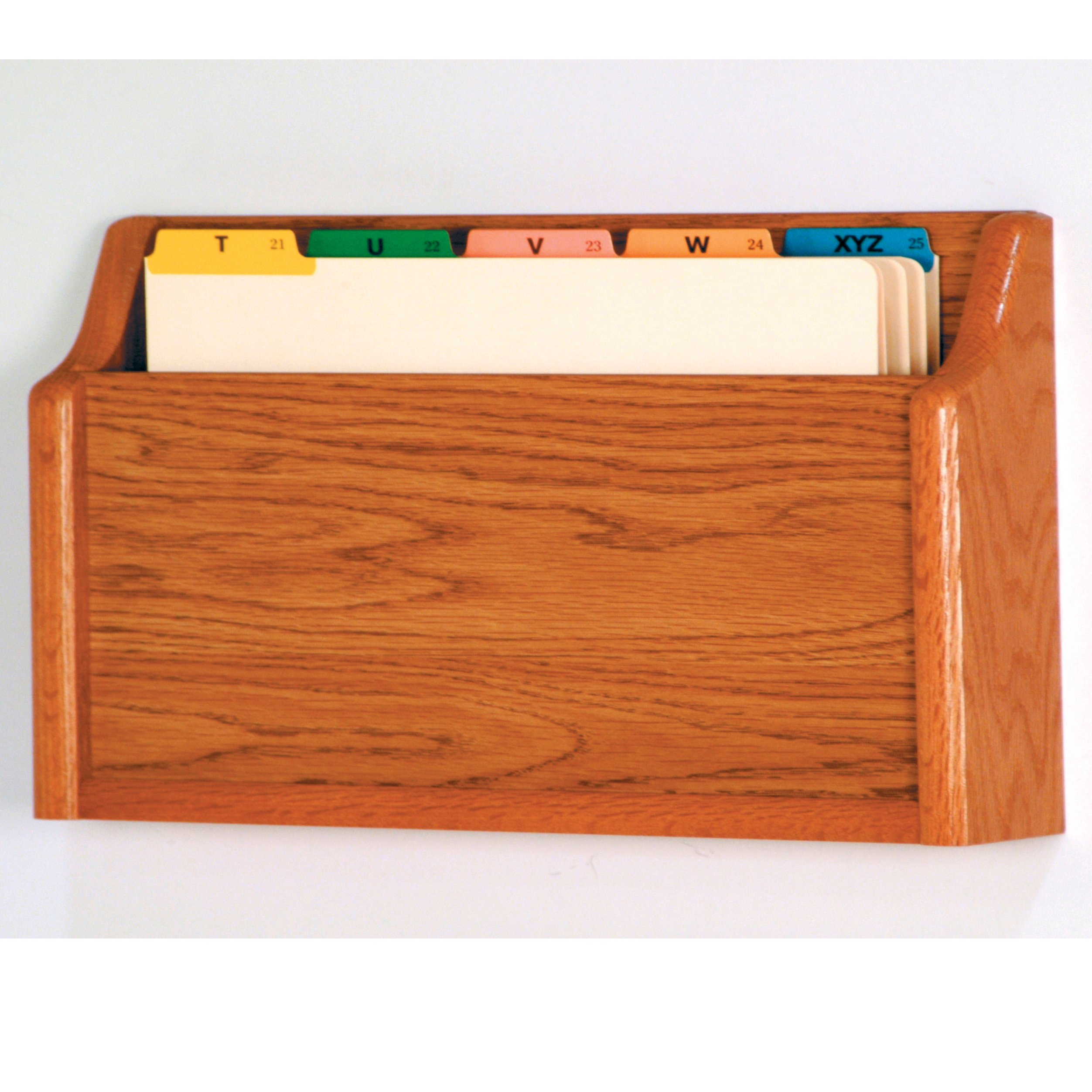 Wooden Mallet Square Bottom File Holder, Legal Size, Medium Oak