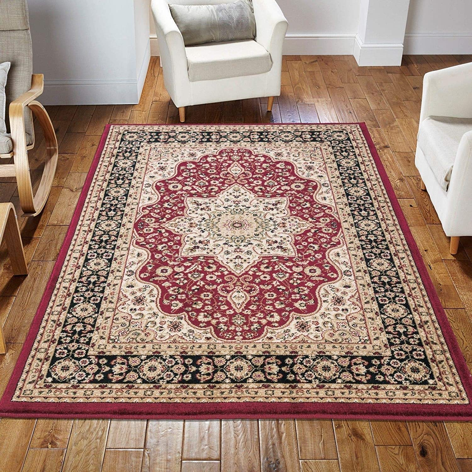 TOP Marques Collectibles Teppich, klassisch, weich, dick, florales Muster, rot, 240cm x 320cm
