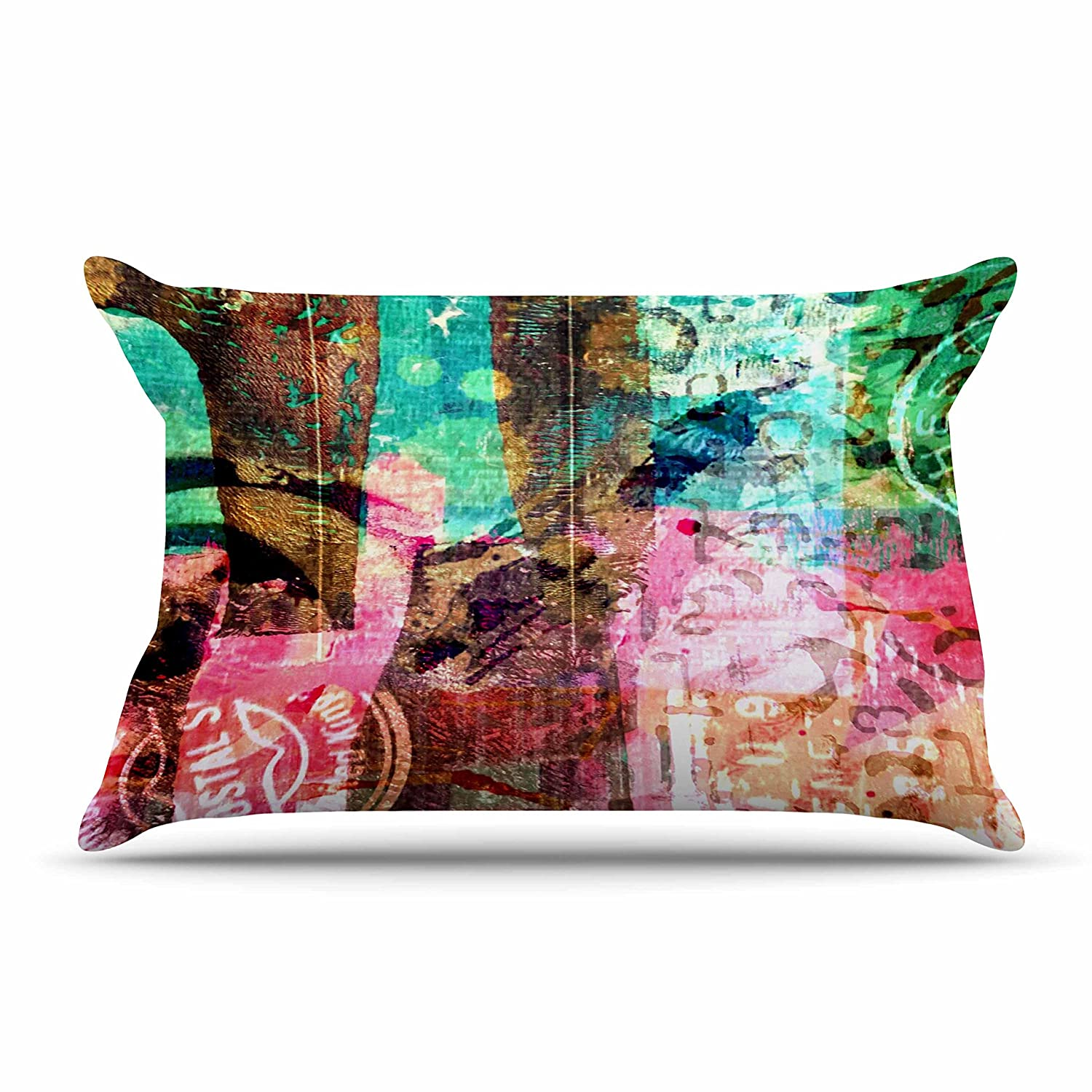 Kess InHouse Alyzen Moonshadow Green Red Abstract Multicolor Standard Pillow Case, 30 by 20-Inch, 30' X 20'