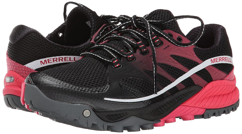 Merrell Women's All Out Charge Trail Running Shoe B00KZIZTBC 7.5 B(M) US|Black/Geranium