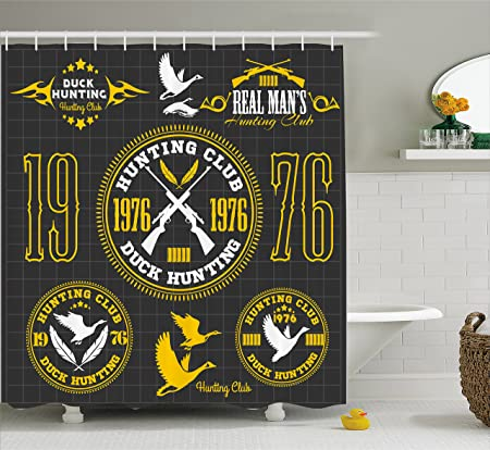 Hunting Decor Shower Curtain By Ambesonne Vintage Club Emblem From