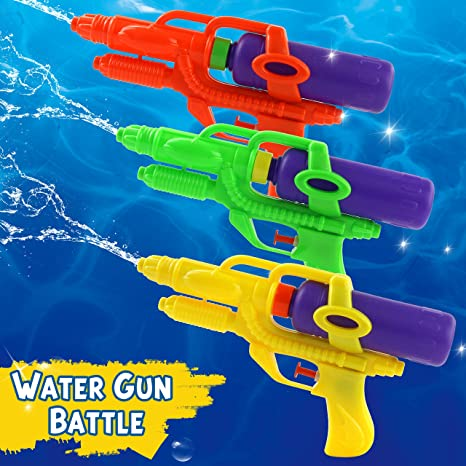Bstaofy 3 Pack Water Guns for Summer Party, Squirt Guns Fun for Kids, 9 inch, 3 Colors of Orange, Green and Yellow (Pack of 3)