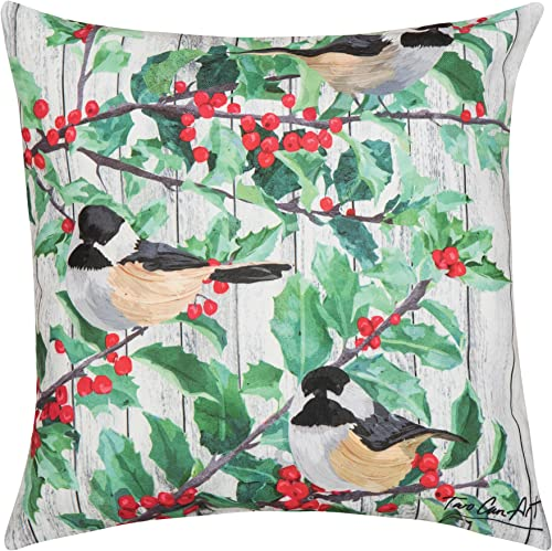 C F Home Holly Bird Premium Indoor Outdoor Decorative Accent Throw Pillow 18 x 18 Green