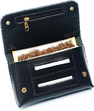 Bolsa de Tabaco Bleeps de Auténtica Piel Curtida al Vegetal, Made in Italy, Tabaquera de Liar