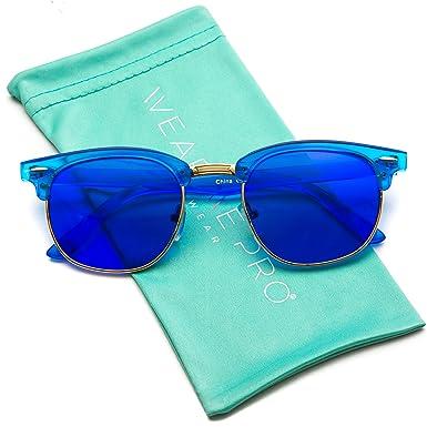 3cca749c31 WearMe Pro Marco transparente estilo Chic Retro Color Tinted Lente  parcialmente sin montura gafas de sol: Amazon.es: Ropa y accesorios