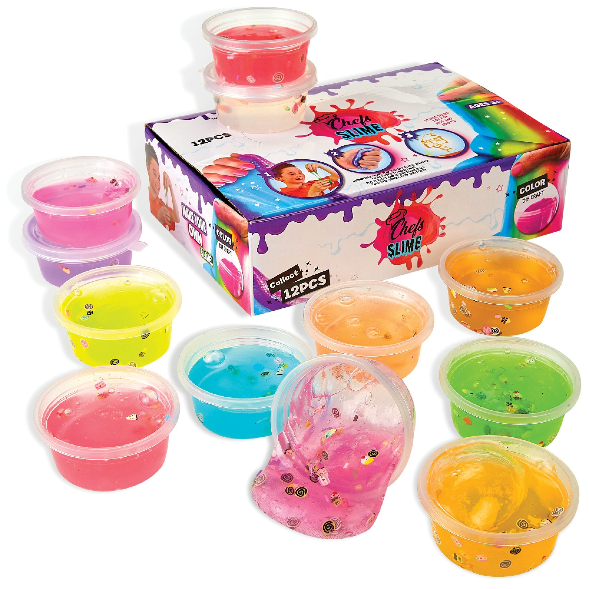 - 12 Pack   Fun Mud Slime  Jumbo Pack   Putty - Non Sticky, Fluffy, Stretchy for Stress Relief, Super Soft & Squishy Sludge Toy for Kids and Adults - 12 Pack -
