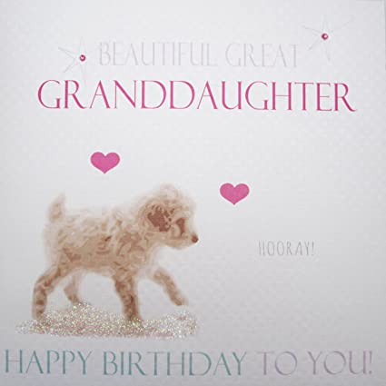 WHITE COTTON CARDS Beautiful Granddaughter Happy Handmade Birthday Card Neon Puppy Amazoncouk Kitchen Home