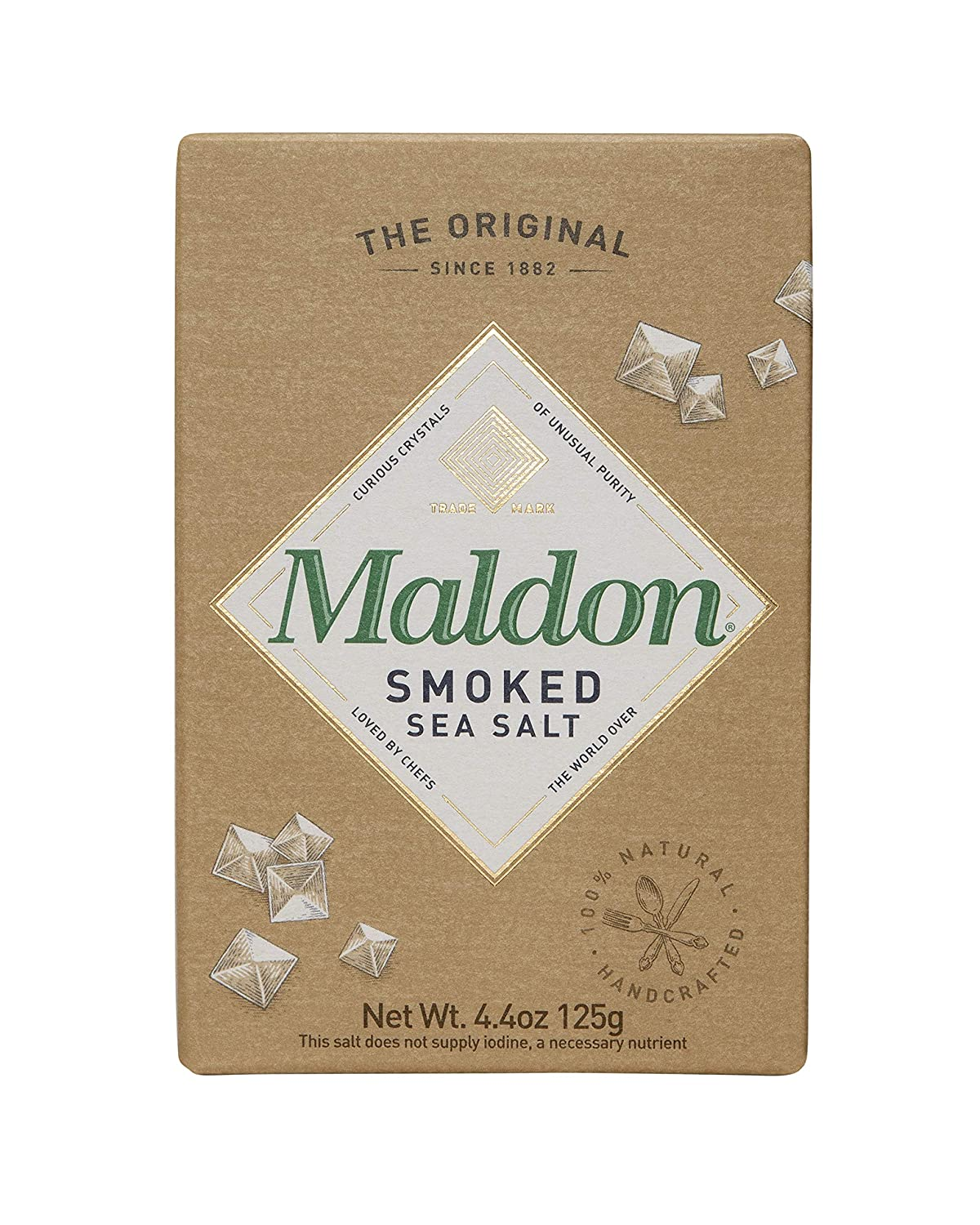 Maldon Salt, Smoked Sea Salt Flakes, 4.4 oz (125 g), Kosher, Natural, Gently Smoked Over Oak, Handcrafted, Gourmet, Pyramid Crystals : Grocery & Gourmet Food