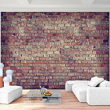 Fototapete Ziegelmauer 3D Braun 396 x 280 cm Vlies Wand Tapete ...