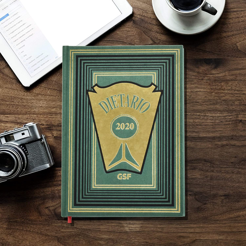 Dietario Cuarto (2020) -15x21,5 - Día Pagina - Tapa Dura En Geltex- Grabado En Oro (Verde)