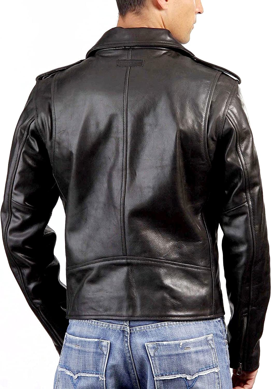 GLAMDUST Mens Pure 100/% Lambskin Leather Solid Biker Leather Jacket