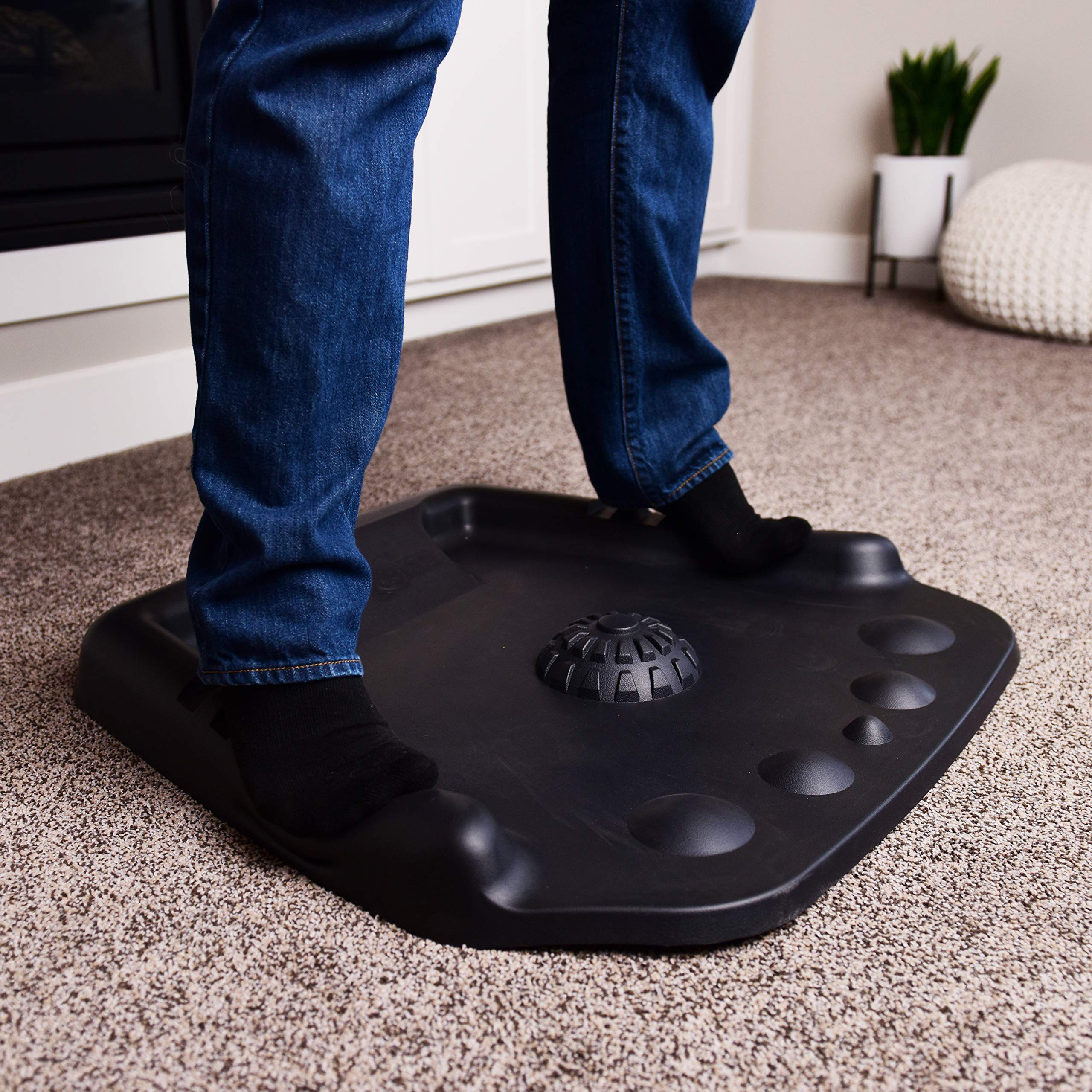 Best Standing Desk Mat with Anti Fatigue Foot Design, Patent-Pending Foot Massage Features, Deluxe Comfort While You Stand, 3D Ergonomic Support Mats for Feet, Legs, Back, for Office & Home (Black)
