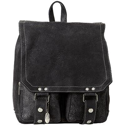 David King & Co. Distressed Leather Laptop Messenger Backpack, Black, One Size