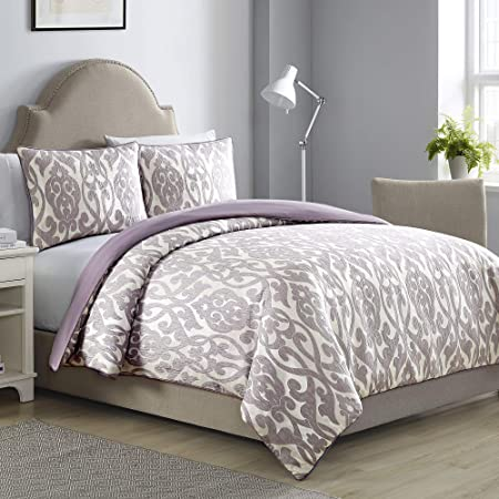 Amrapur Overseas Azlin Damask 3-Piece Embellished Duvet Set, King, Purple