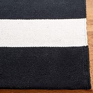 Safavieh Montauk Collection Mtk712d Handmade Stripe Cotton Accent Rug 2 3 X 5 Black Ivory Furniture Decor Amazon Com