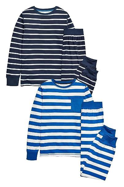 next Niños Junior Paquete De Dos Pijamas De Pantalones Y Camiseta Manga Larga De Algodón (