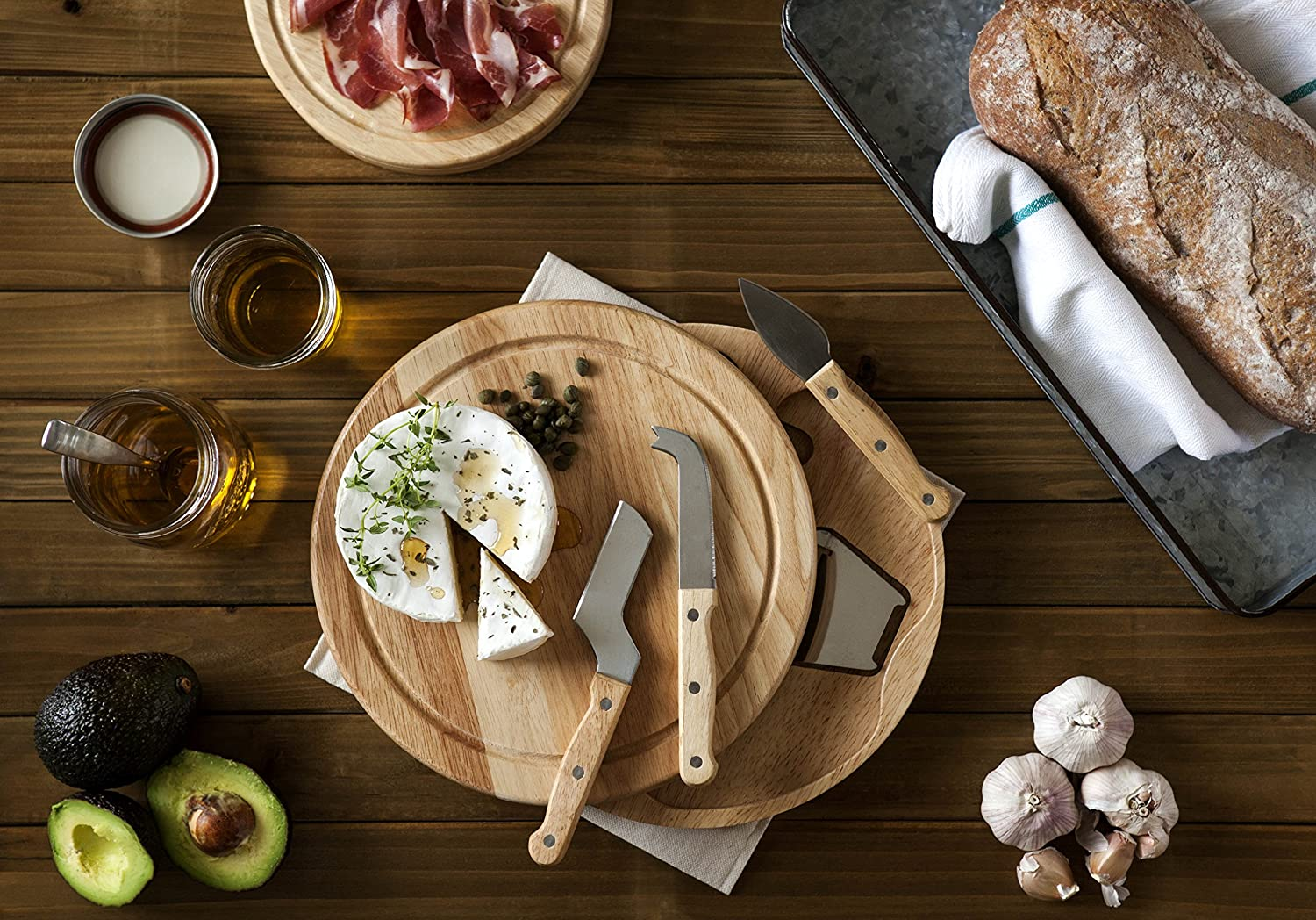 Durable Hardwood Cutting Board Opens to Reveal Stainless Steel Tools Nested Inside