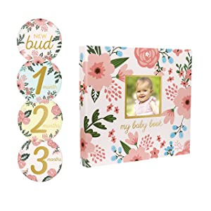 Pearhead Memory Book with Included Baby Belly Stickers, Modern Baby First Year Journal, Babys First Year, Baby Shower Gift, Floral