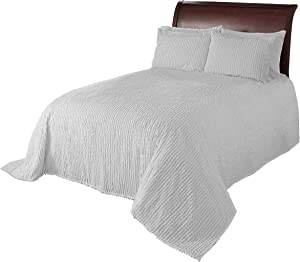 Beatrice Home Fashions Channel Chenille Bedspread, King, White