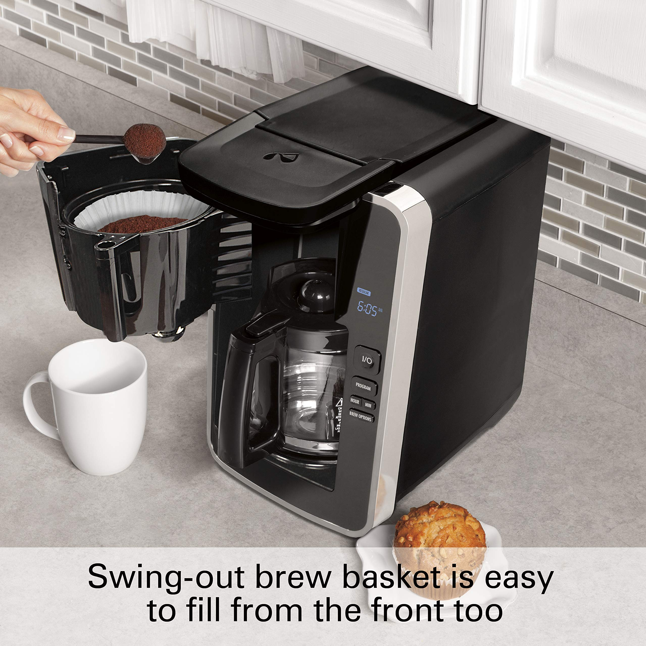 Hamilton Beach Programmable 12 Cup Coffee Maker, Easy Front Access Deluxe, Brew Options, Black and Stainless (46320), by Hamilton Beach (Image #4)