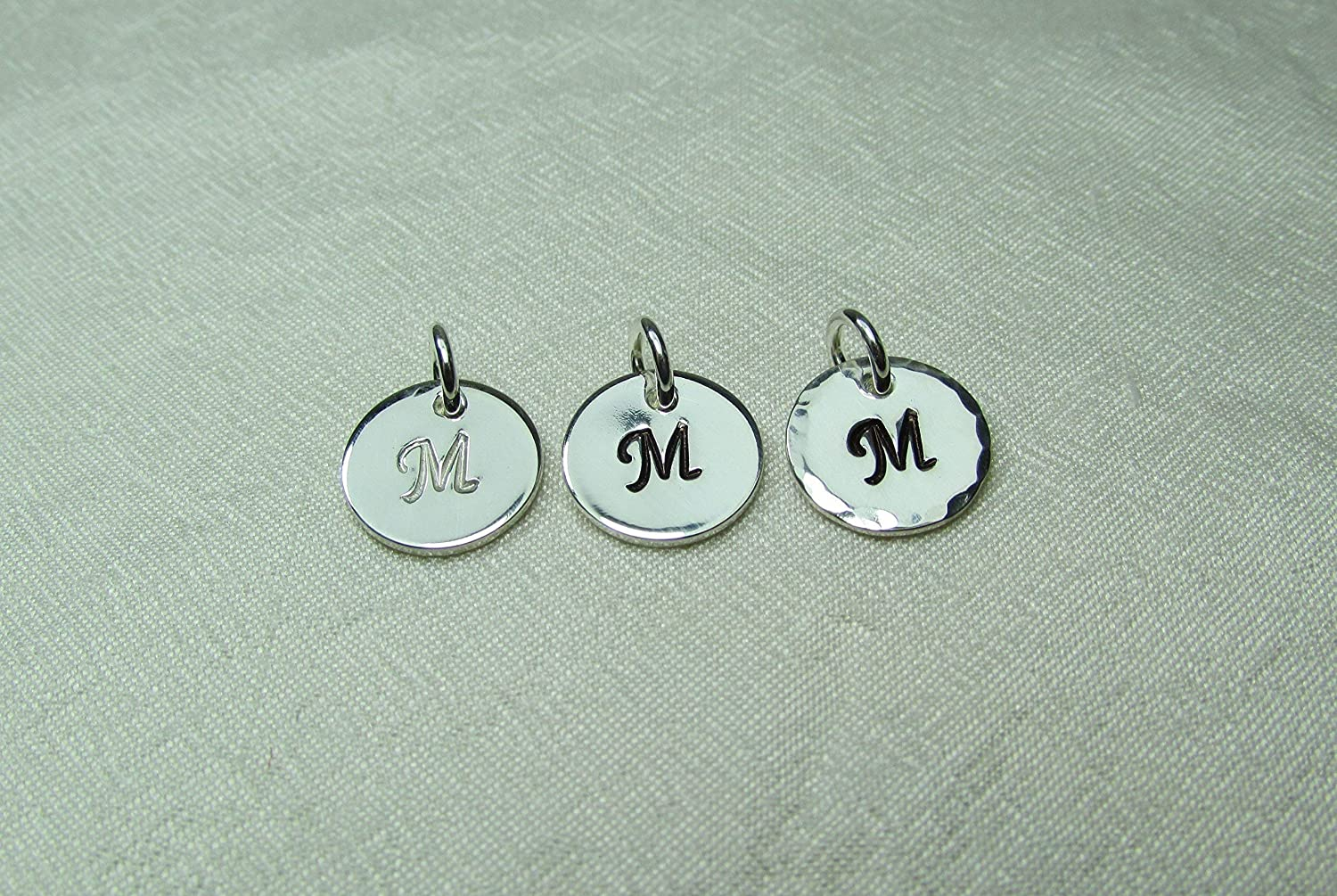 """B0164WSFHC Single Small Hand Stamped Initial Charm - Sterling Silver 3/8"""" Disc with Letter 91RQb9aC4kL"""