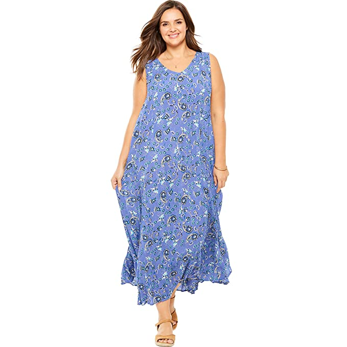 Woman Within Women\'s Plus Size Petite Sleeveless Crinkle A-Line Dress