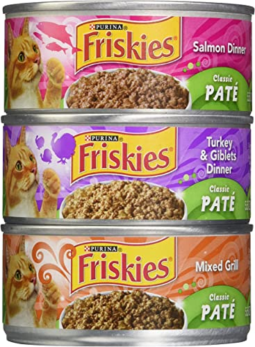 Friskies Classic Pate Cat Food Variety Pack 12-5.5 oz. Cans Includes 4 Each Salmon Dinner, Mixed Grill, Turkey Giblets