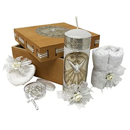 Catholic Baptism Kit in a Wooden Box with Towel, Candle, Rosary and Shell for