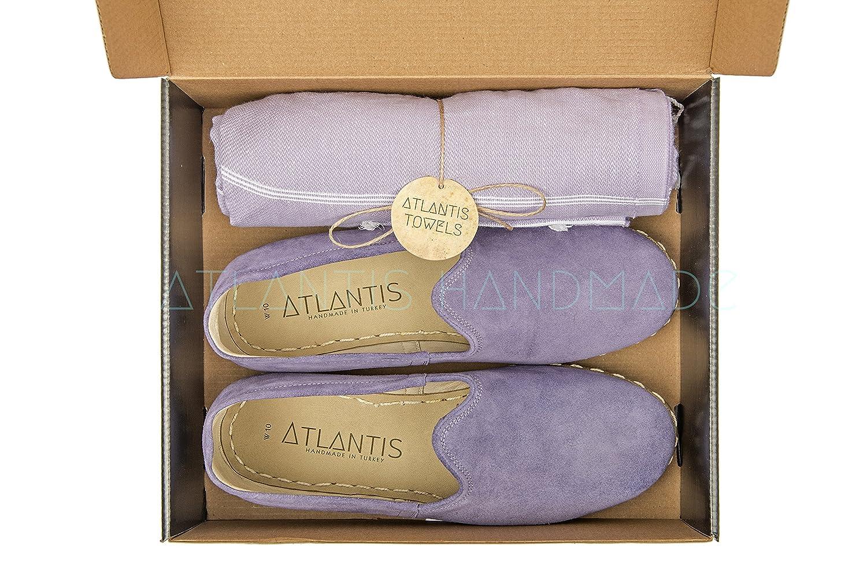 Atlantis Handmade Women's Flat Slip On Suede Leather Yemeni Shoes B07DDGXG56 7.5 M US Lavender