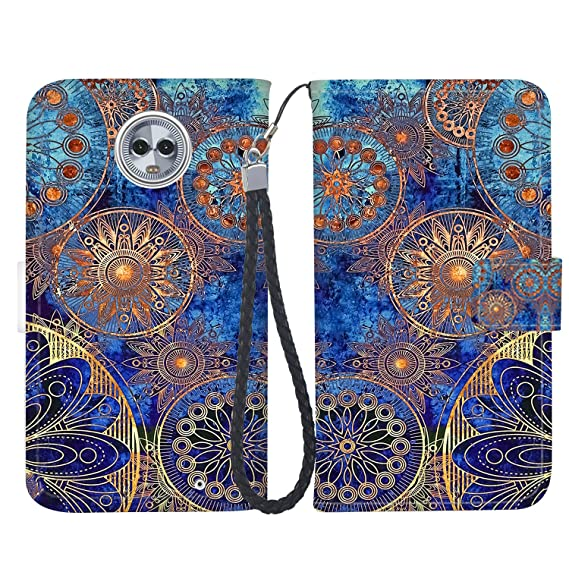74756f48deb7 Wallet Case for Motorola G6, Luxury PU Leather Flip Folio Full Protection  Wallet Case [Magnetic Closure] + [Kickstand] with Credit Card Slots and  Hand ...