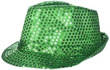d515e28a5c3 Amazon.com  Sequins LED Light up Fedora Hat - Kelly Green  Kitchen ...