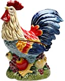 "StealStreet SS-CG-31979 12"" Tall Painted Standing Rooster on Fruit Kitchen Cookie Jar"