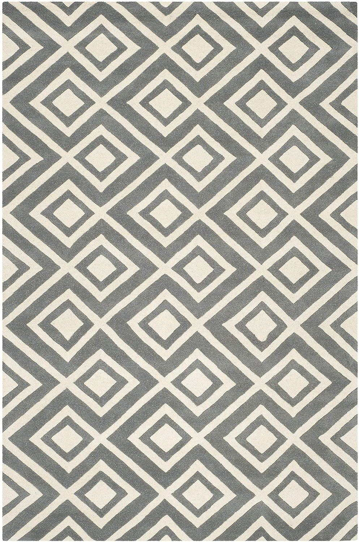 Safavieh Teppich mit Rautenmuster, CHT742, Handgetufteter Wolle, Dunkelgrau/Elfenbein, 182 X 274 cm