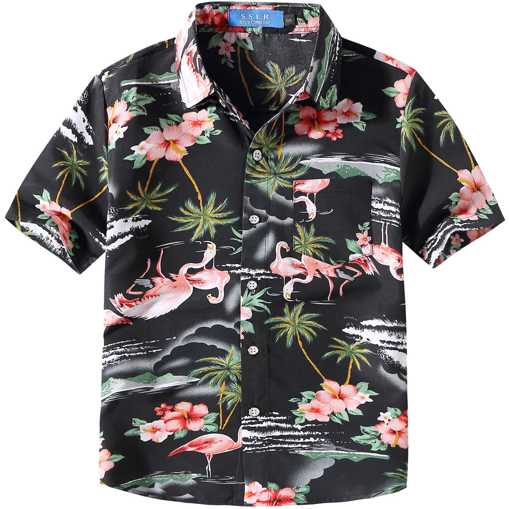 SSLR Big Boy's Pink Flamingos Button Down Casual Short Sleeve Hawaiian Shirt (Small(8), Black)