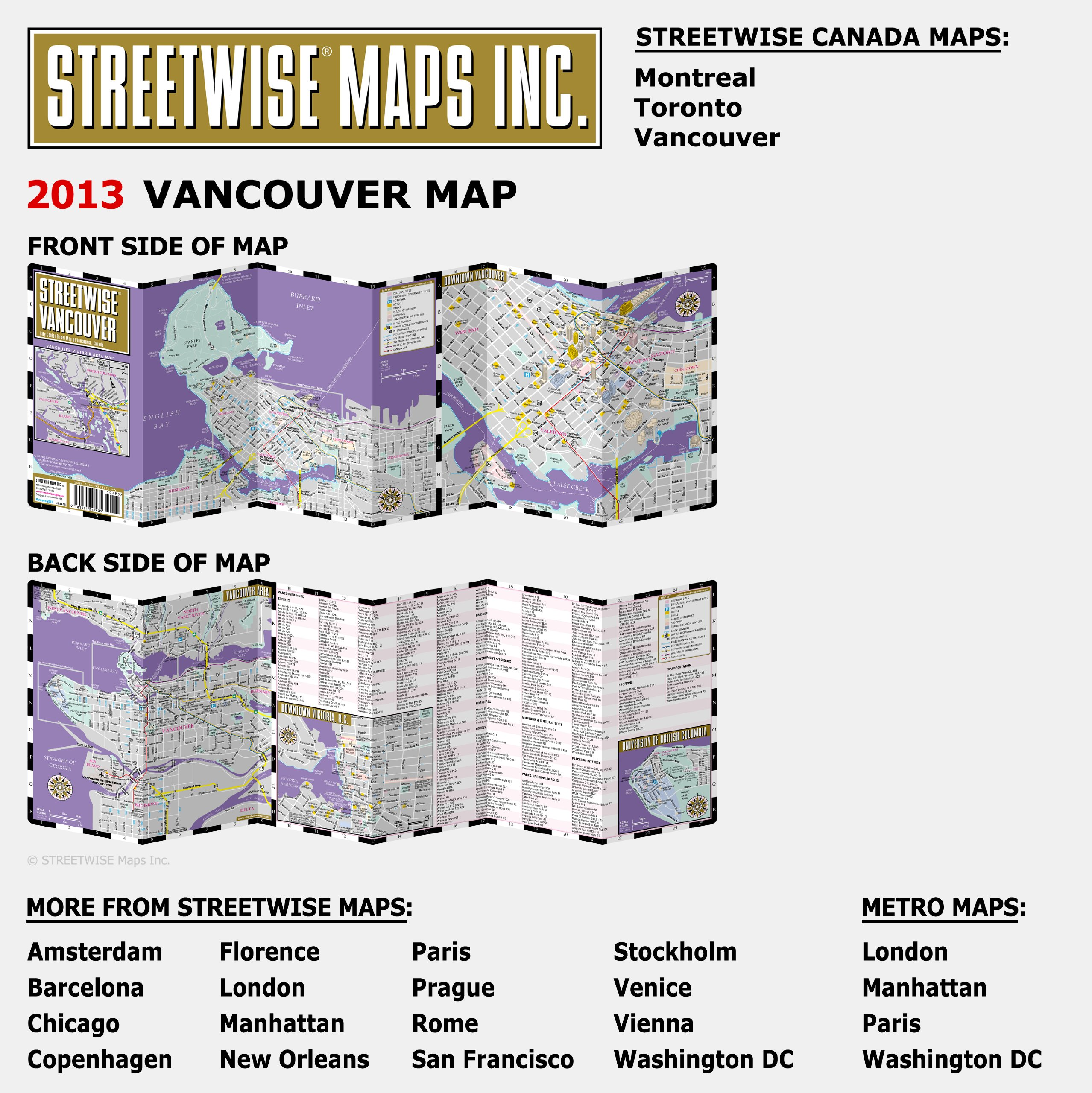 Streetwise Vancouver Map Laminated City Center Street Map Of - Washington dc laminated map